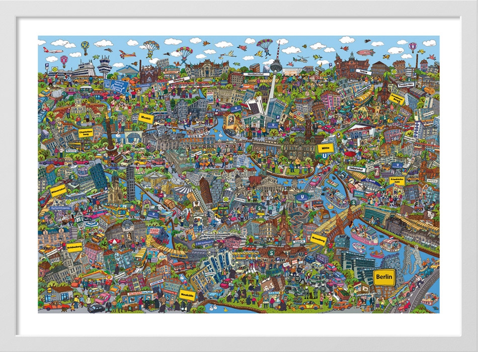 Cartoon Cityposter Berlin, 100x70 cm