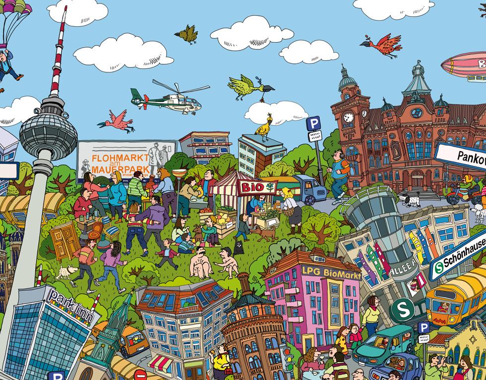 cartoon city poster berlin wimmelbild 100x70 cm das ideale geschenk f r alle berlin liebhaber. Black Bedroom Furniture Sets. Home Design Ideas
